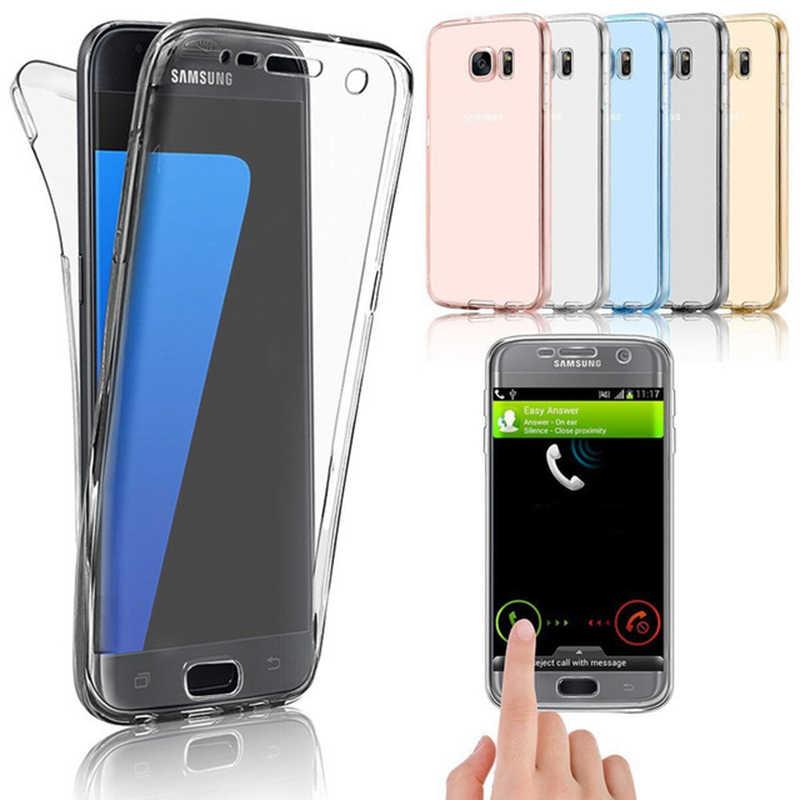 Miękka TPU podwójne silikonowe etui do Samsung Galaxy S8 uwaga 9 8 A6 A8 Plus J6 J8 2018 S9 Plus s6 S7 krawędzi 360 pełna pokrywa ochrony