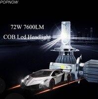 Pair 72W 7600LM COB C6 LED Headlight Bulbs H1 H3 H4 H7 H8 H9 H11 H13