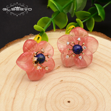 GLSEEVO 925 Sterling Silver Stud Earrings Natural Lapis Lazuli Watermelon Crystal Flower For Women Fine Jewely GE0675