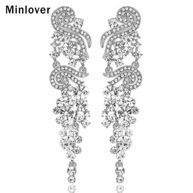 Minlover Silver Color Crystal Long Drop Earrings For Women Elegant Rhinestone Dangle Bridal Wedding Jewelry Eh287