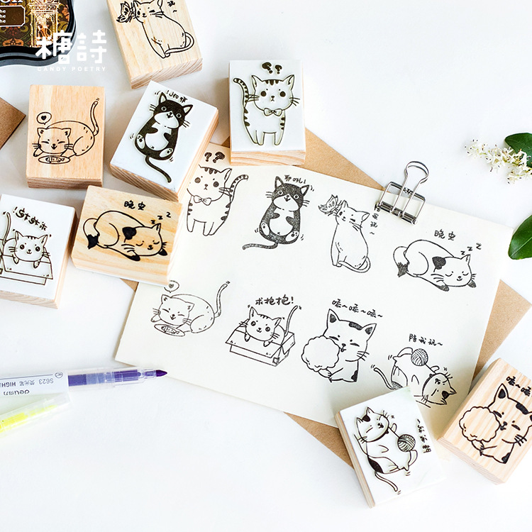 Lovely Daily Cat Meow Wooden Rubber DIY Stamp Set Student Prize Promotional Gift Stationery vintage daily plan check list decoration stamp wooden rubber stamps for scrapbooking stationery diy craft standard stamp