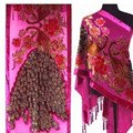 Free Shipping Hot Pink Ladies' Velvet Silk Beaded Embroidery Shawl Scarf Peafowl   SW07-F
