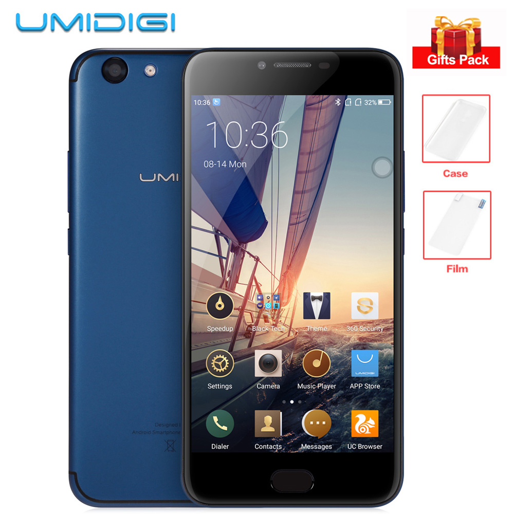 UMIDIGI C NOTE 2 5.5'' FHD Android 7.0 Octa Core 4GB+64GB 13MP+5MP Dual Cameras MTK6750T Front Touch ID 4000mAh 4G Mobile Phone