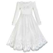 Sunny Fashion Flower Girls Dress Lace Hem Long Sleeve Wedding First Communion 2017 Summer Princess Party Dresses Size 5-12