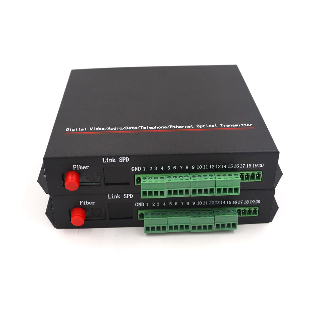 8CH Video 10/100Mbps Ethernet RS-422 Data Contact closure Fiber media converters
