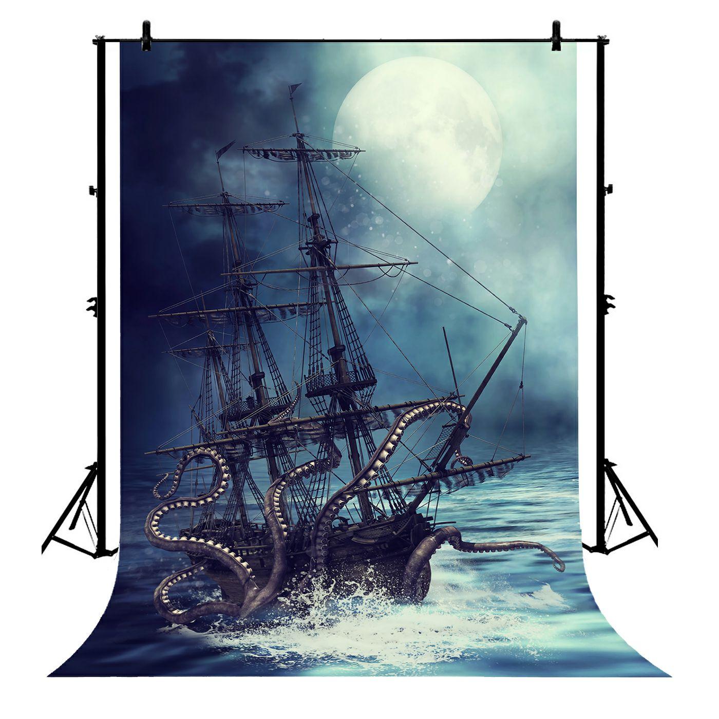 5x7ft noël Pirate bateau Polyester Photo arrière-plan Portrait toile de fond