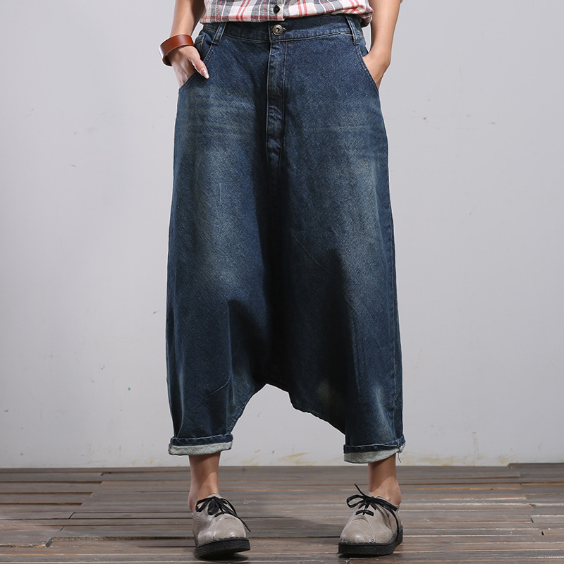 Plus Size Boyfriend Jeans Washed Streetwear Trousers Women Wide Leg Denim Harem Pants Hip Hop Baggy Drop Crotch Pants YT0091