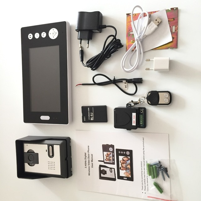 2.4GHz Wireless Video Door phone 7 inch TFT Monitor Video Door Bell Intercom System Automatically Take Pictures IR Camera