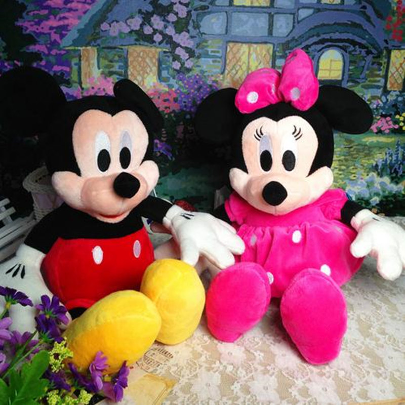 2pcs/lot 28cm Hot Cartoon Mickey Mouse and Minnie Mouse Valentine Gifts Birthday Gifts Kids Girls Toys