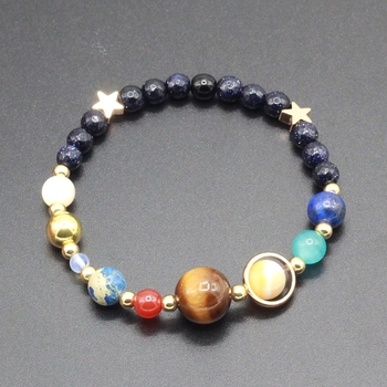Womens Solar System Bracelet - Natural Stone Galaxy Beads Universe Bracelet - Eight Planets Solar System Guardian Star Bangle Bracelet  for Women and Men