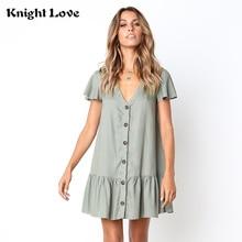 Button Women Dress Polka Dots Cotton Midi Dress Sexy Summer Solid V-Neck Short Sleeve Casual Loose Female Beach Vestidos