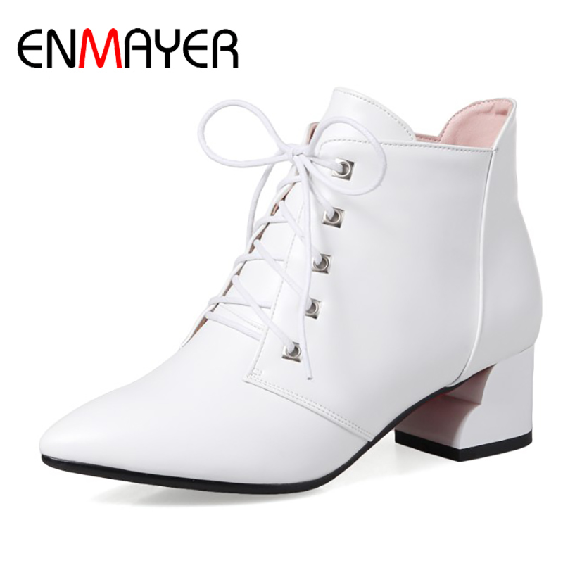 ENMAYER Woman Lace Up Square Heel Pointed Toe Flats Ladies High Heels Solid Shoes 2017 Spring/Autumn Fashion Plus Size 34-43 2017 new fashion spring ladies pointed toe shoes woman flats crystal diamond silver wedding shoes for bridal plus size hot sale