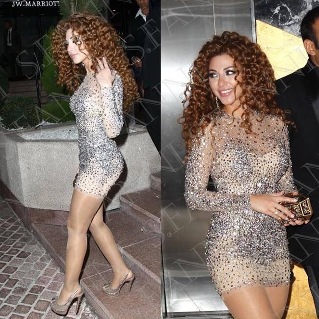2015 Lebanon Bateau Long Sleeve See Through Short Mini Sheath Bling Tulle Satin Rhinestones Hottest Beaded Sexy Cocktail Dresses