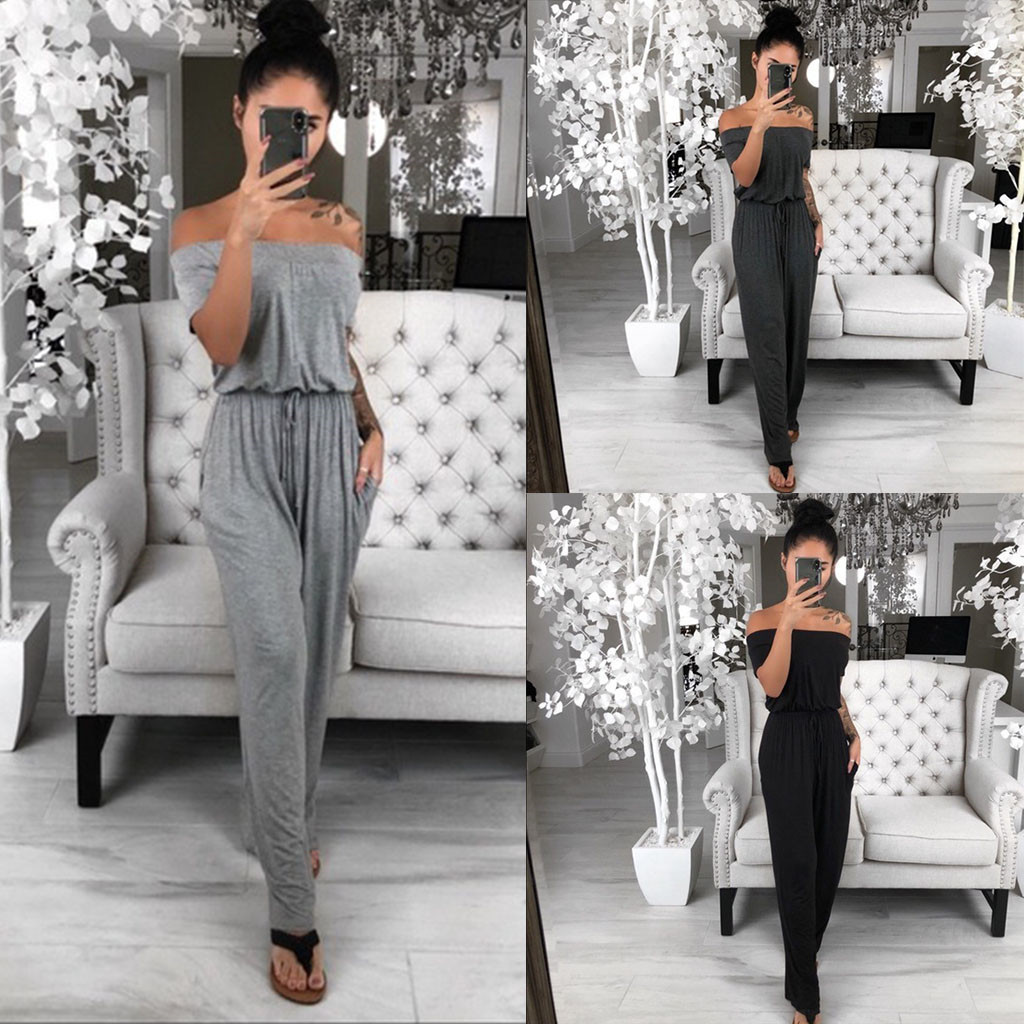 2019 Sexy   jumpsuit   summer overalls for women elegant Women's Loose Casual Strapless Trousers Solid Color Summer Romper   Jumpsuit