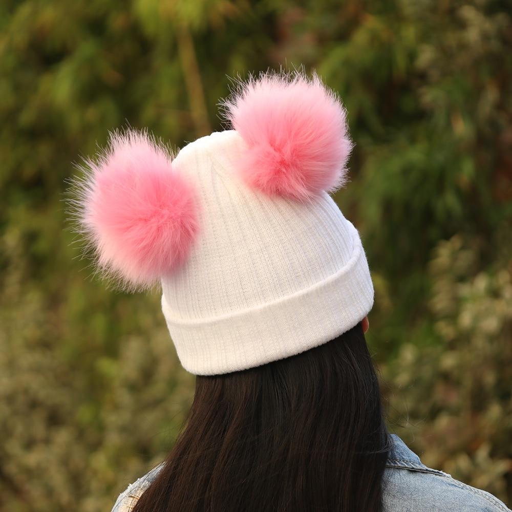 1 шт. Мода махрово Для женщин зима теплая Плетеный крючком шерсть вязаная шапка леди шап ...
