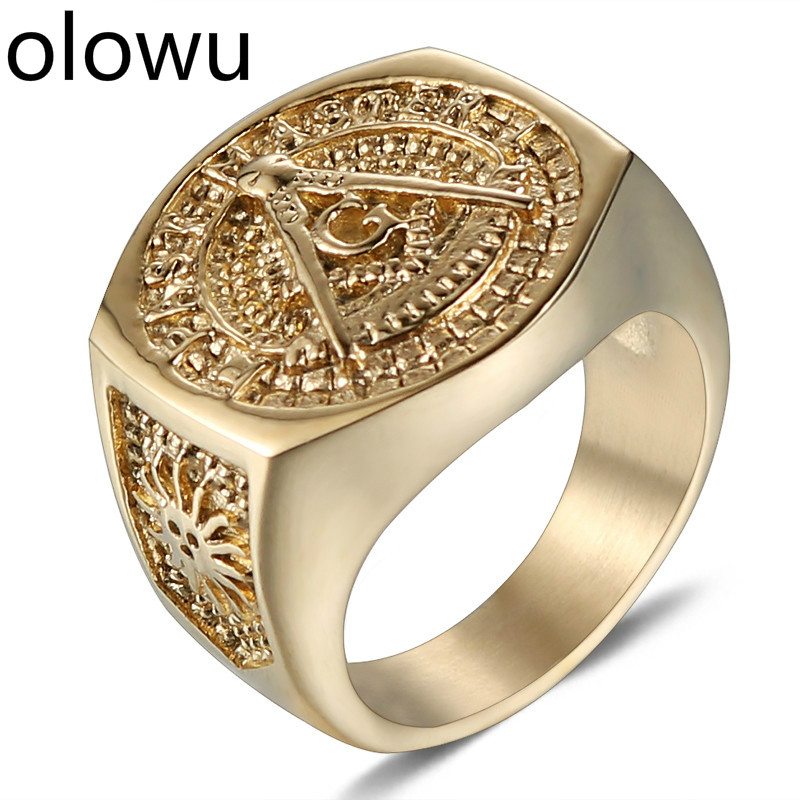 Olowu Men's Vintage Masonic Ring Stainless Steel Punk Mason Jewelry Band Gold Casting Jewellery Freemason Symbol Member Ring