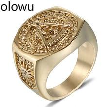 Olowu, мужское винтажное масонское кольцо, нержавеющая сталь, Панк Мейсон, Ювелирное кольцо, Золотое литье, ювелирное изделие, масонское кольцо, символ члена