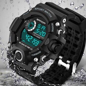 2018 SANDA moda reloj deportivo Digital hombres buceo deporte LED reloj  para hombres impermeable Ginebra Relojes militares Relojes hombre 326 68c3e93ab65