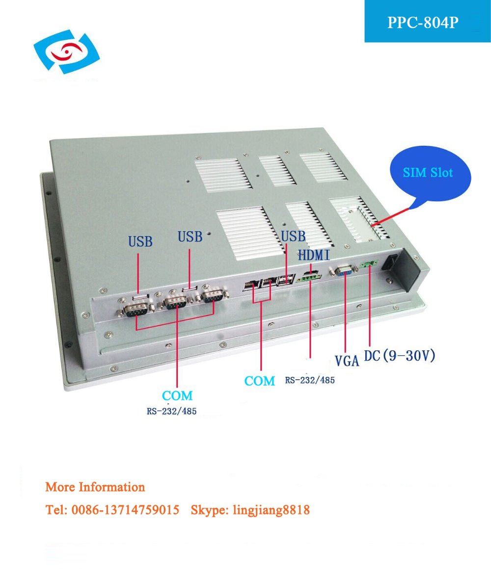 hot sale 8.4 Inch With 4*com serial ports & 2*LAN Fanless Industrial Panel PC for touch screen kiosk