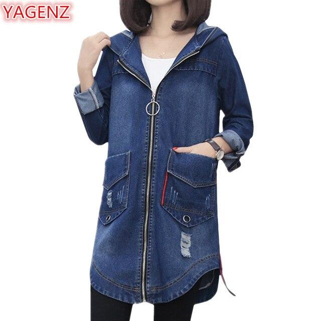 laaja valikoima säästää koko 40 US $27.49 49% OFF|YAGENZ Spring Autumn Bomber Jacket Women Denim Coats  Fashion Plus size Jeans Jacket Womens Hooded Top Hole Female Denim Coat  894-in ...