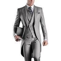 Hot Sale Grey Italian Mens Tailcoat Wedding Suits For Men Groomsmen Suits 3 Pieces Groom Wedding