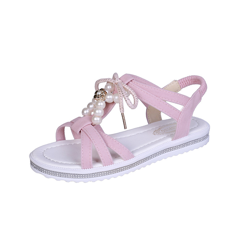 2019 Summer Girls Sandal New Girls Princess Shoes Open Toe Soft Sole Fashion Comfortable Big Girls Roman Student Sandals 3 Style