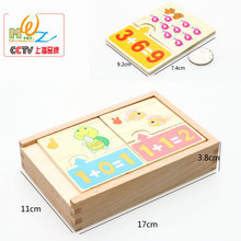 10 Digital Add Operation Cartoon Animal Puzzle toys Childrens Maths Training number Addition operation Wooden Puzzles Baby