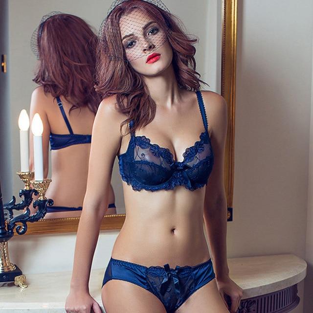 Sexy Embroidery Transparent Bras Set Women Plus Size Lingerie Set ... 84aad5665