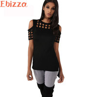 Ebbiza Casual O Neck Short Sleeve Slim T Shirts For Women Plaid Hollow Out Off Shoulder