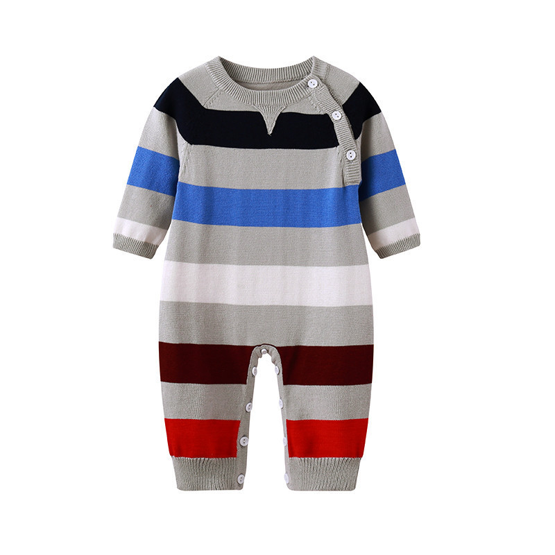 Fashion Stripes Knitted Newborn Baby Boys   Rompers   Winter Long Sleeve Toddler Jumpsuit Clothes 100% Cotton Infant Overalls Spring