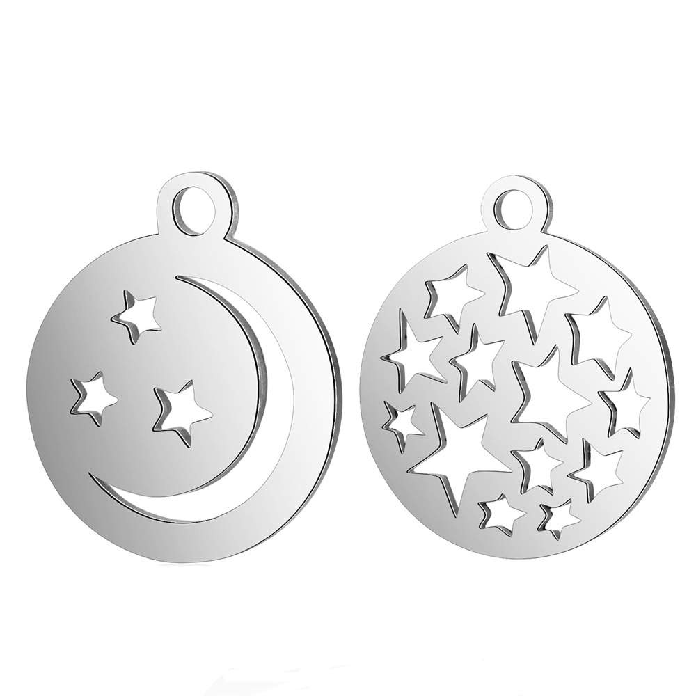 10pcs/Lot High Polish Stainless Steel Charms Hollow Stars and Moon Round Charms Pendants for Jewelry Making DIY Accessory