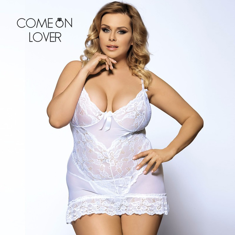 Comeonlover Plus Size Lingerie See Through Erotic Lingeries Fashion Seductive Porn Lingerie Nuisette Sexy Nightwear RI70218 3