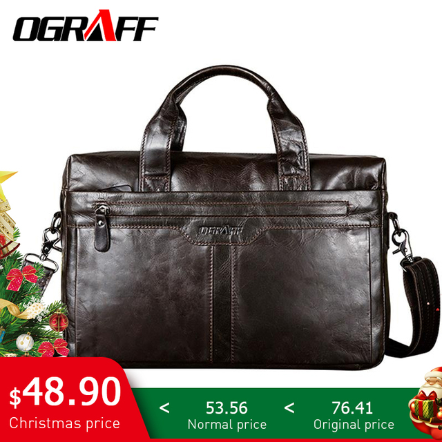OGRAFF Genuine leather Men Bag Handbags Briefcases Shoulder Bags Laptop  Tote bag men Crossbody Messenger Bags Handbags designer 9343b6a7a09ed