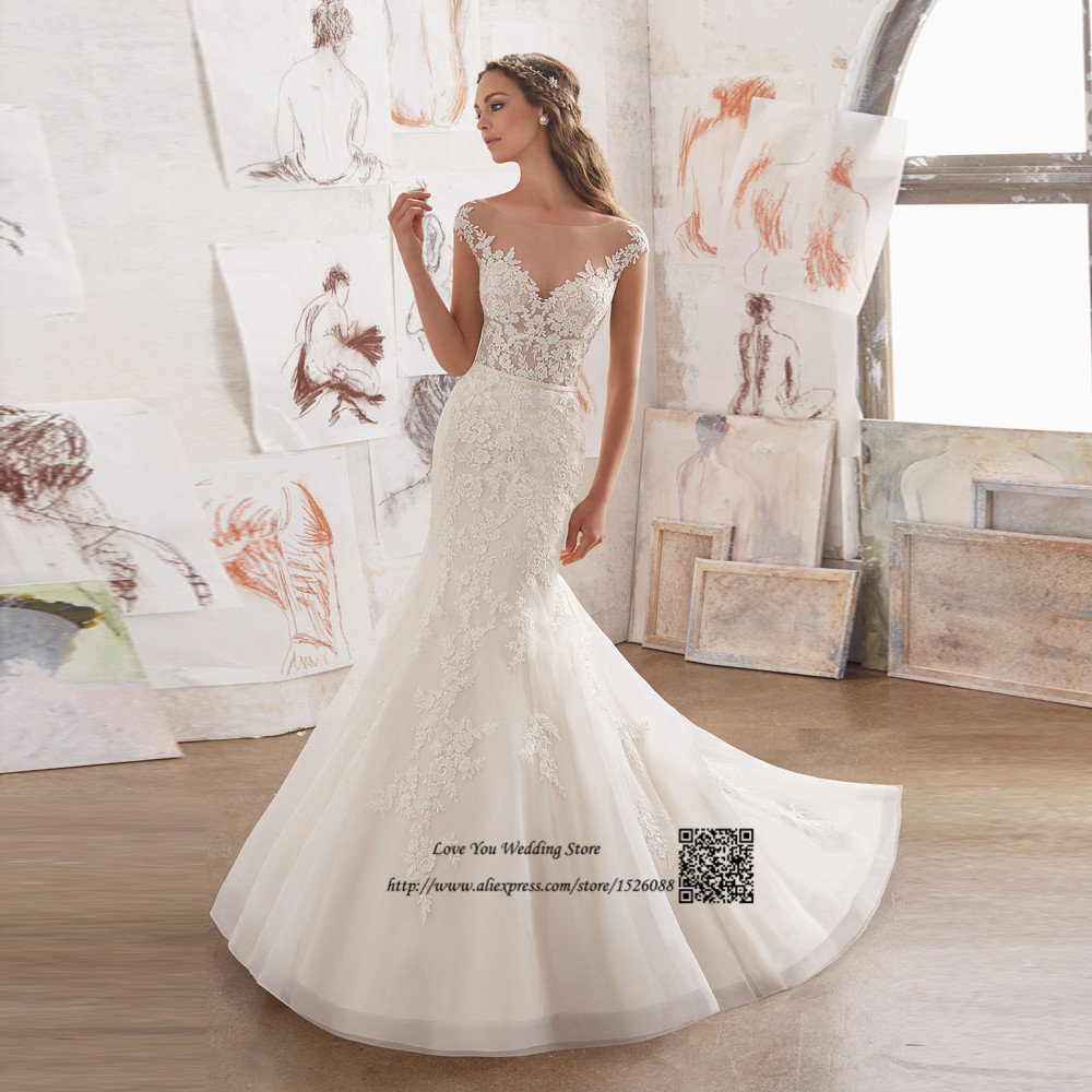 Vintage Wedding Dress Mermaid Lace Bride Dresses 2017 Open