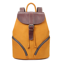 XIYUAN women brown/grey Genuine Leather Backpack Shoulder School Bags for Teenagers Travel Oil Wax Cow Female Knapsack Back Bag