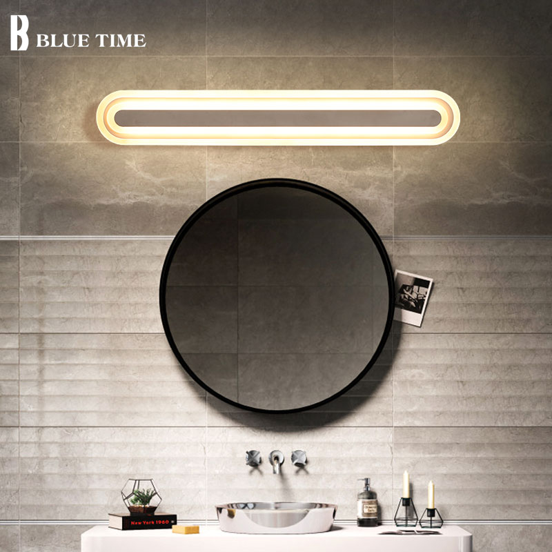 40 60 80 100cm Acrylic Modern LED Wall Lights Bathroom Mirror Front Light For Bathroom Bedroom LED Sconces Wall Lamp Luminaries acrylic bathroom mirror front light led wall lamp modern for bathroom bedroom led sconces wall lights luminaria 120 100 80 60cm