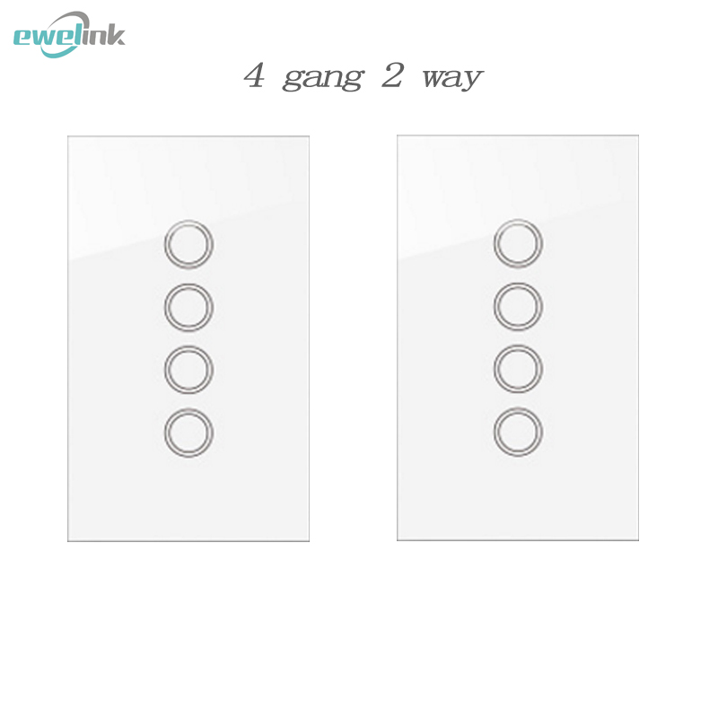 US/AU 4 gang  2 way Crystal pannel RF433 Wireless Remote Touch Wall Light  Switch for Smart Home via Broadlink RM Pro 2017 smart home crystal glass panel wall switch wireless remote light switch us 1 gang wall light touch switch with controller