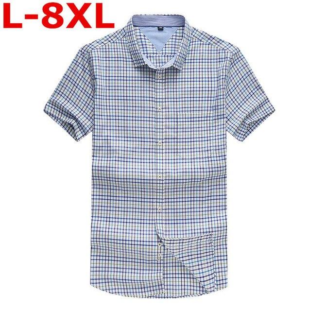 5f66f42ac7 2018 New Large Size 8XL 7XL 6XL Men S Short Sleeve Cotton Social Shirts  Plaid Checked