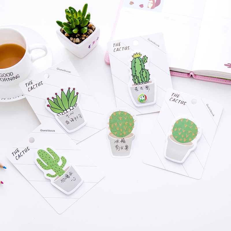Cute Cactus Memo Pads Kawaii Plant Sticky Notes Adhesive Note For Kids Girls Gifts School Office Supplies Novelty Stationery