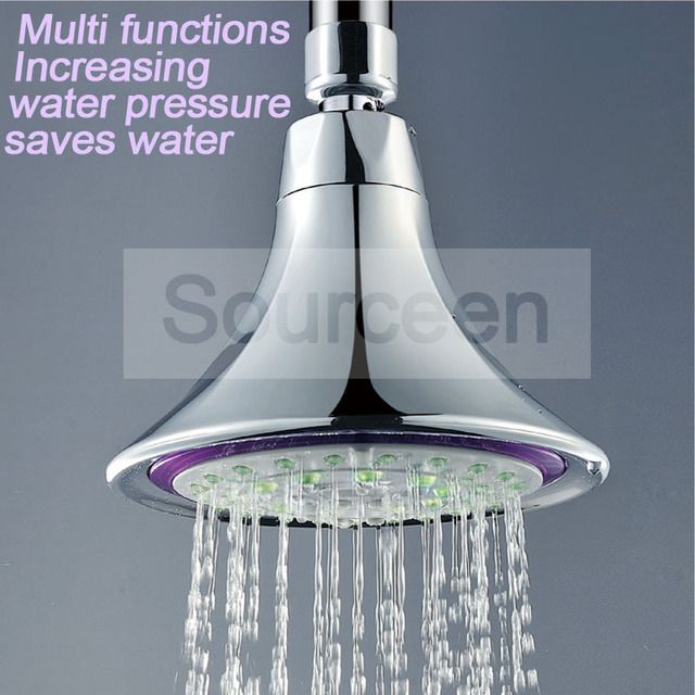 WASOURLF wall mounted boost water saving rain shower top chrome ...