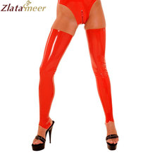 Rubber Latex Stockings For Adults Red Thigh-High XS-XXL Fetish Rubber Leggings Customize Service LA044