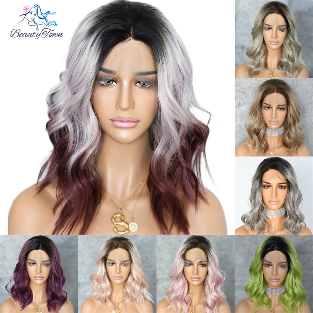 BeautyTown Dark Root Ombre Purple Colorful Short Hair Blogger Daily Makeup Glueless Synthetic Lace Front Wedding