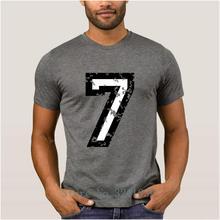 La Maxpa Criatura nova o número sete n ° 7 duas cores camisa branca de t  Luz Solar Barato t-shirt do homem Lazer camiseta 100% a. 5019b3c1417df