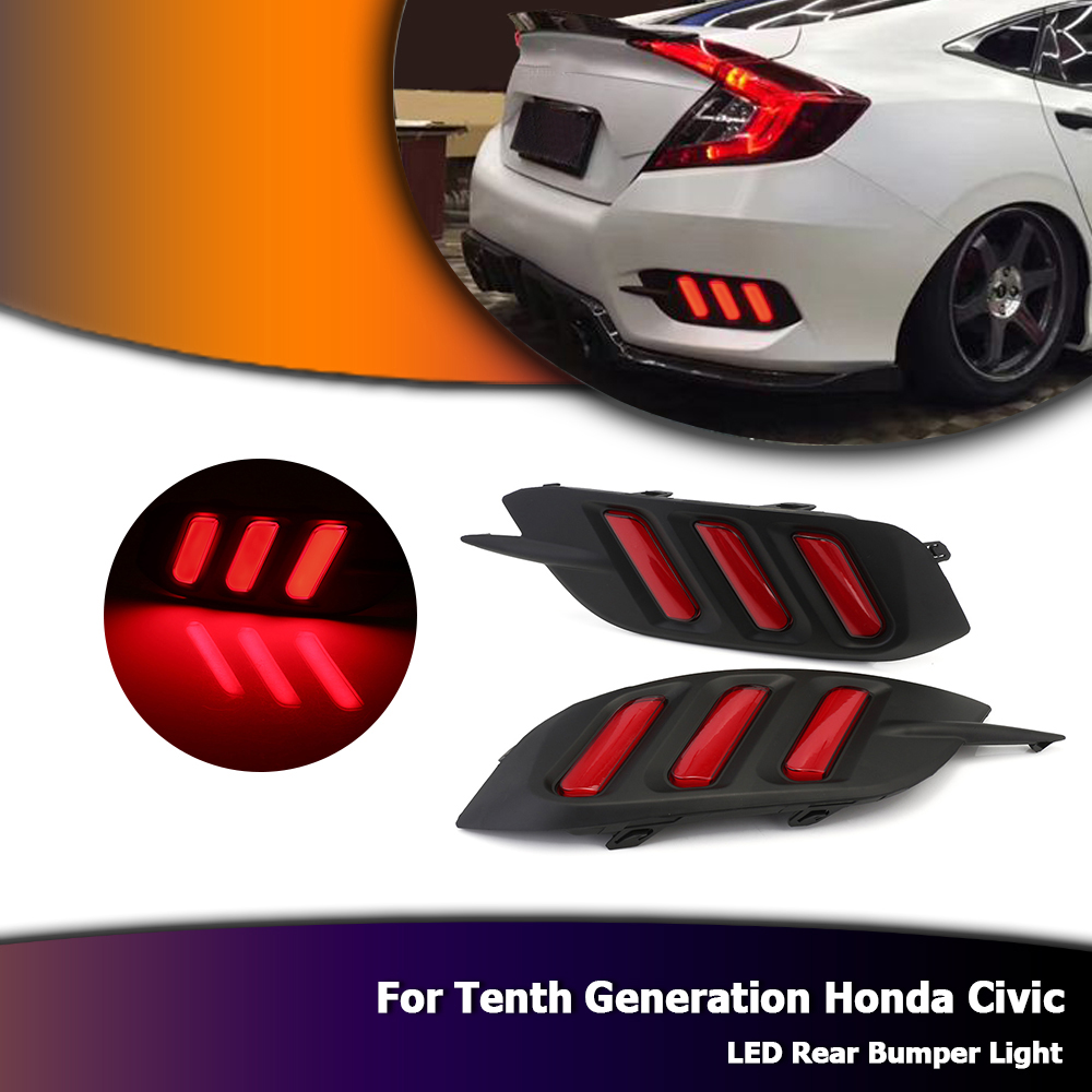 For 10th Honda Civic 2016 Mustang Auto Car LED Light Brake Tail Light Rear Bumper  Lamp Red D35For 10th Honda Civic 2016 Mustang Auto Car LED Light Brake Tail Light Rear Bumper  Lamp Red D35