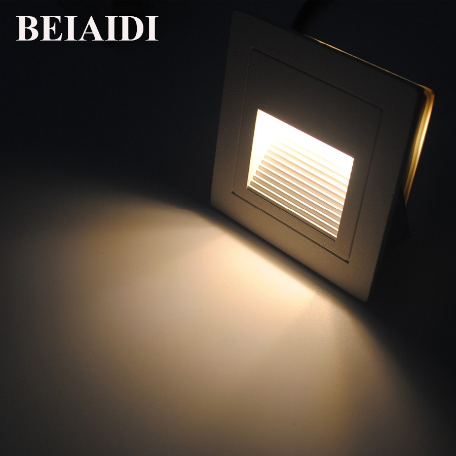 BEIAIDI 1W Modern Waterproof LED Wall Lamp Footlight IP65 Aluminum Recessed Wall Corner Light Outdoor Corridor Step Stair Light