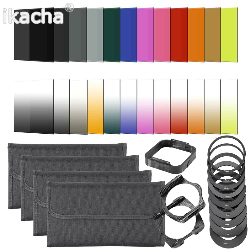 Hot 24 Color Filter Set Square Graduated ND Kit 9 Adapter Ring + holder Lens Hood For Cokin P Series Camera