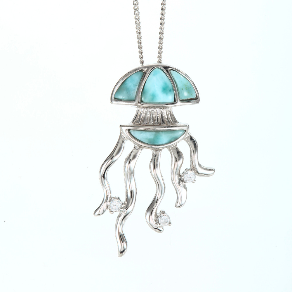 Novelty Jellyfish Pendant Natural Ocean Larimar Stone Charm Pendant Sea Nettle Jelly Fish 925 Sterling Silver Jewelry