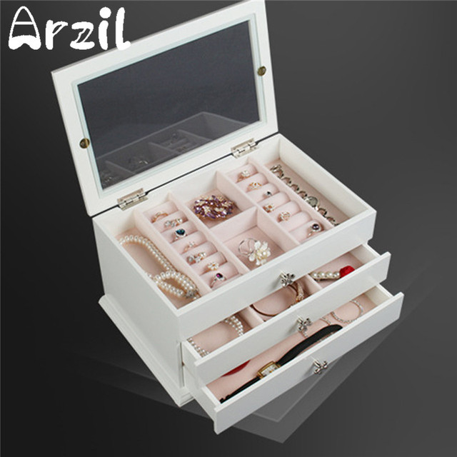 White Wooden Jewellery Box Cosmetic Makeup Organizer Earring Ring