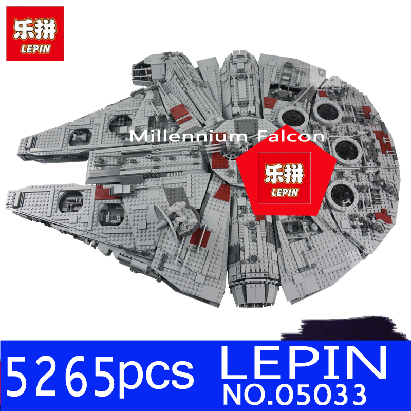 LEPIN 05033 5265Pcs Star Ultimate Wars Collector's Millennium Falcon Building Blocks Bricks Toys for Children Compatible 10179 lele 5265pcs star wars ultimate collector s millennium falcon model building kits blocks bricks toys for children gift 10179