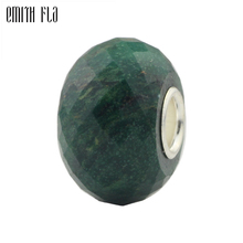 Faceted Green Beads 925 Sterling Silver Natural Stones Fit European Charm Bracelets Round Beads For Jewelry Making Big Hole
